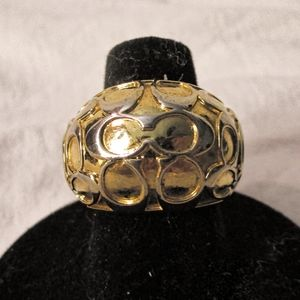 Gold coach dome ring